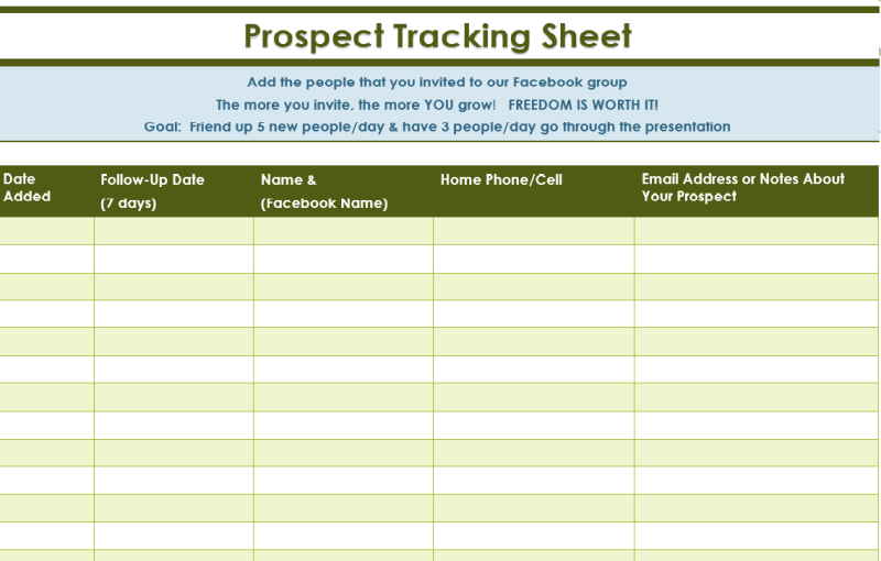 Prospecting Sheet